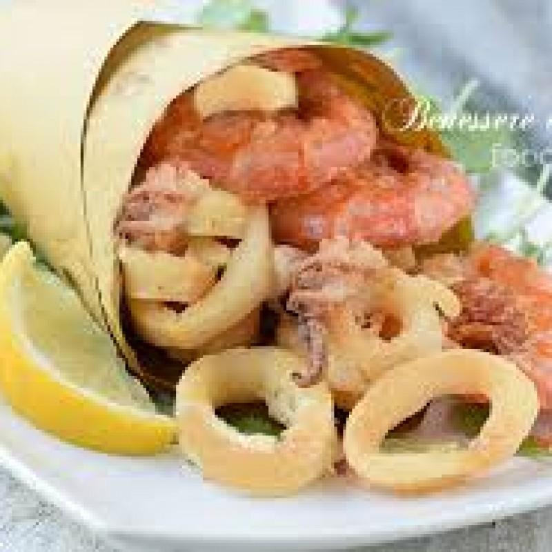 Cono di fritto misto Calamari e Gamberi