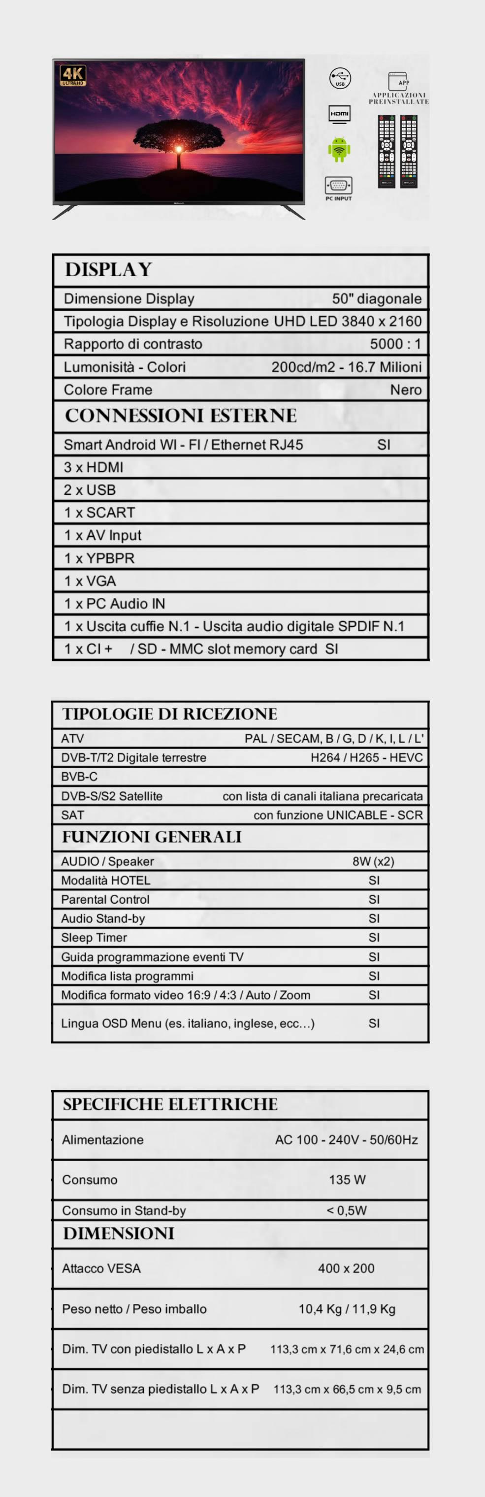 TV BOLVA 50'' S-5088A