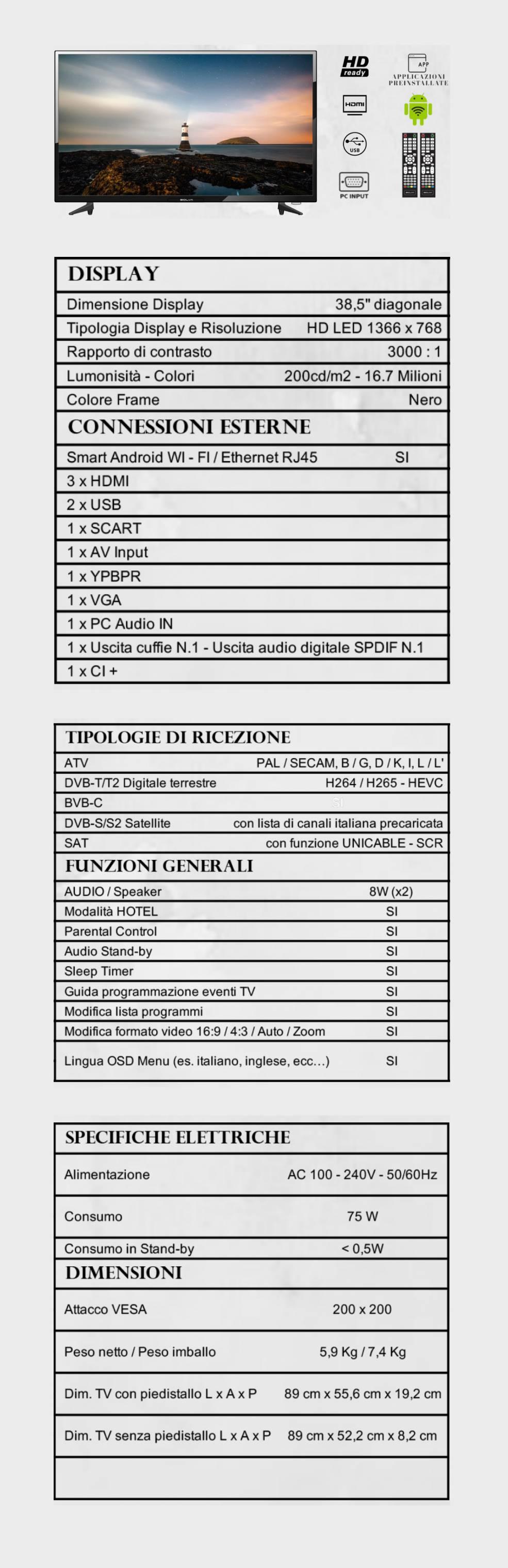 TV BOLVA 38.5'' S-3988A