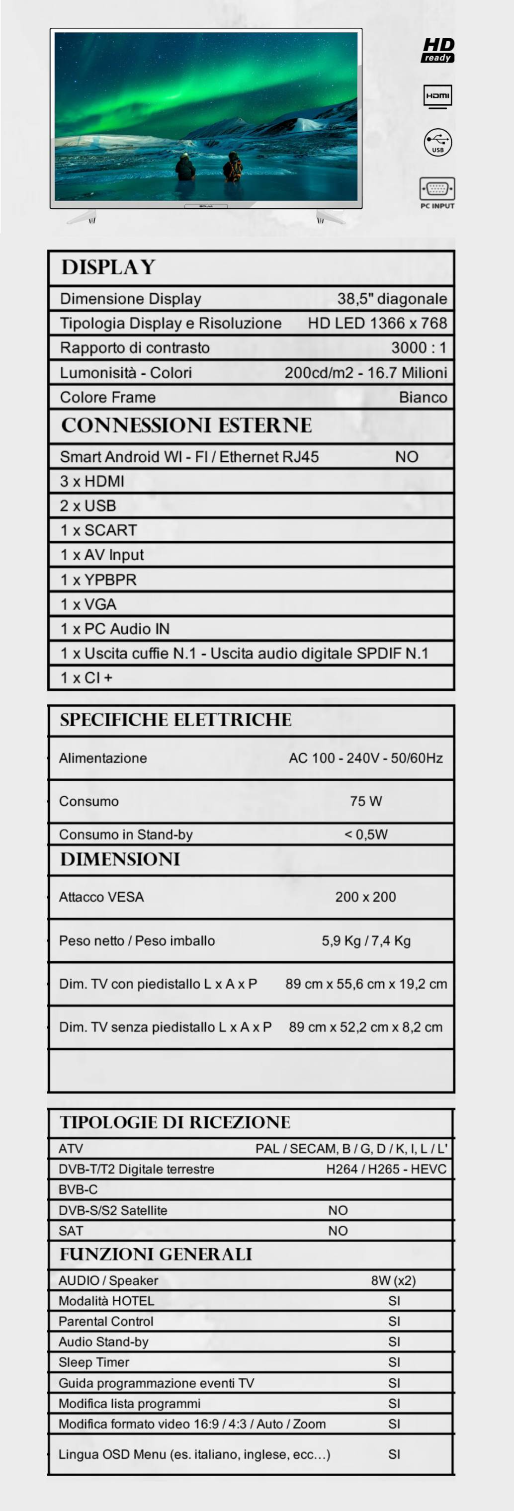 TV BOLVA 38.5'' BL-3966W