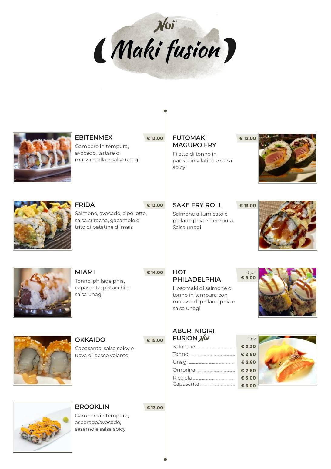 Noi Sushi menu